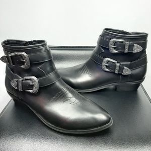Abound Black Western Buckle Ankle Boot